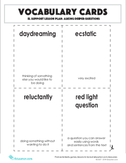 Vocabulary Cards: Asking Deeper Questions