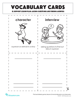 Vocabulary Cards: Asking Questions and Finding Answers