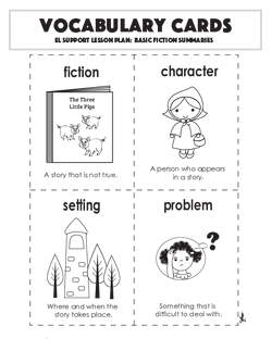 Vocabulary Cards: Basic Fiction Summaries