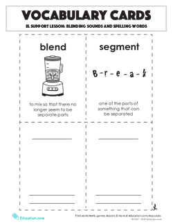 Vocabulary Cards: Blending Sounds and Spelling Words