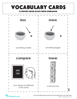 Vocabulary Cards: EL Support Lesson: Block Tower Comparison