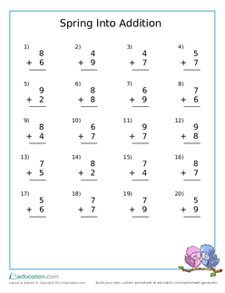 Spring Into Addition: One-Digit Addition Practice