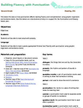 Building Fluency with Punctuation   Lesson Plan   Education.com ...
