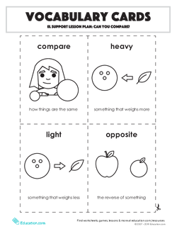Vocabulary Cards: Can You Compare?