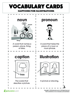 Vocabulary Cards: Captions for Illustrations