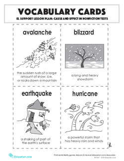 Vocabulary Cards: Cause and Effect in Nonfiction Texts