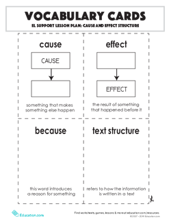 Vocabulary Cards: Cause and Effect Structure