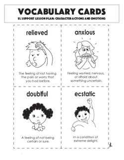 Vocabulary Cards: Character Actions and Emotions