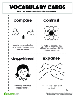 Vocabulary Cards: Character Comparisons