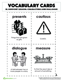 Vocabulary Cards: Characters and Dialogue