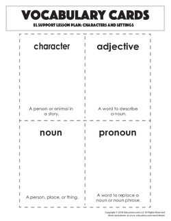 Vocabulary Cards: Characters and Settings