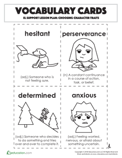 Vocabulary Cards: Choosing Character Traits