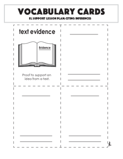 Vocabulary Cards: Citing Inferences