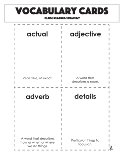Vocabulary Cards: Close Reading Strategy