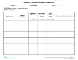 Formative Assessment: Speaking and Listening
