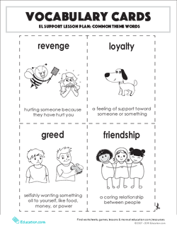 Vocabulary Cards: Common Theme Words