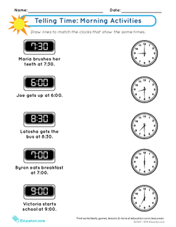 Telling Time: Morning Activities