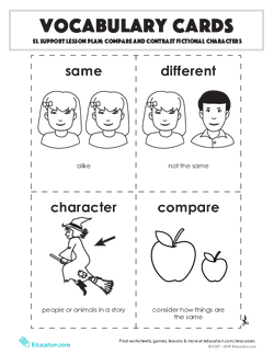 Vocabulary Cards: Compare and Contrast Fictional Characters