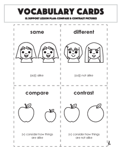 Vocabulary Cards: Compare & Contrast Pictures