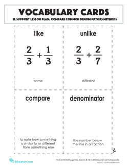 Vocabulary Cards: Compare Common Denominators Methods