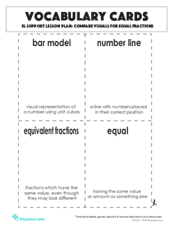 Vocabulary Cards: Compare Visuals for Equal Fractions