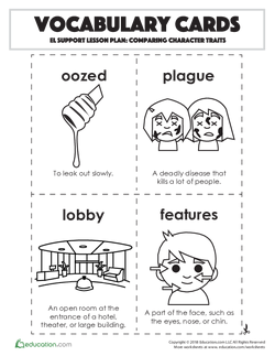 Vocabulary Cards: Comparing Character Traits