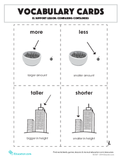 Vocabulary Cards: EL Support Lesson: Comparing Containers