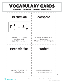 Vocabulary Cards: Comparing Tape Diagrams