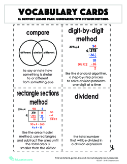 Vocabulary Cards: Comparing Two Division Methods