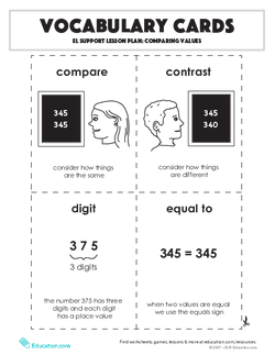 Vocabulary Cards: Comparing Values