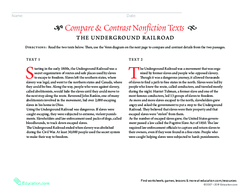 Compare & Contrast Nonfiction Texts: The Underground Railroad