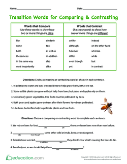 Transition Words for Comparing & Contrasting