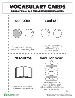 Vocabulary Cards: Comparing with Transition Words
