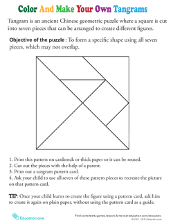 Color a Tangram Template