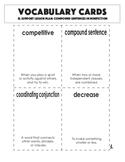 Vocabulary Cards: Compound Sentences in Nonfiction