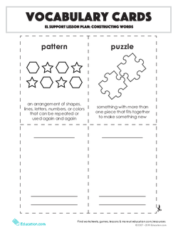 Vocabulary Cards: Constructing Words