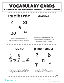 Vocabulary Cards: Conversations About Prime and Composite Numbers