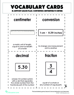Vocabulary Cards: Converting Centimeters to Meters
