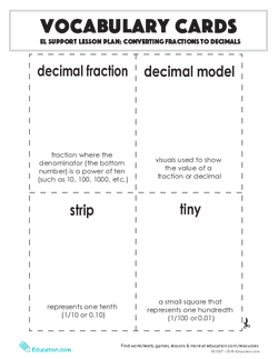 Vocabulary Cards: Converting Fractions to Decimals