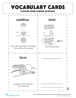 Vocabulary Cards: Counting on the Farm