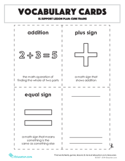 Vocabulary Cards: Cube Trains