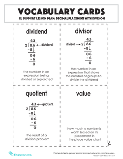 Vocabulary Cards: Decimal Placement with Division