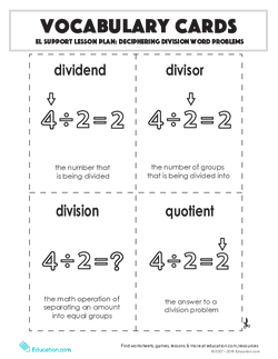 Vocabulary Cards: Deciphering Division Word Problems