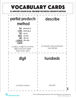 Vocabulary Cards: Describe the Partial Products Method