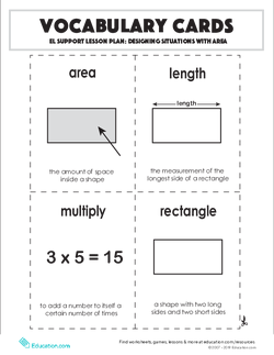 Vocabulary Cards: Designing Situations with Area