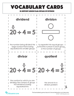 Vocabulary Cards: Details of Division