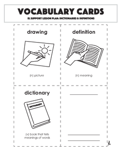 Vocabulary Cards: Dictionaries & Definitions