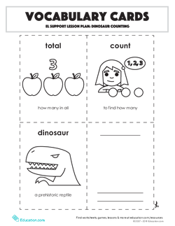 Vocabulary Cards: Dinosaur Counting