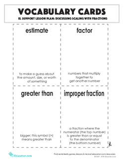 Vocabulary Cards: Discussing Scaling with Fractions