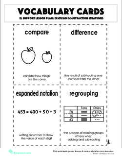 Vocabulary Cards: Discussing Subtraction Strategies